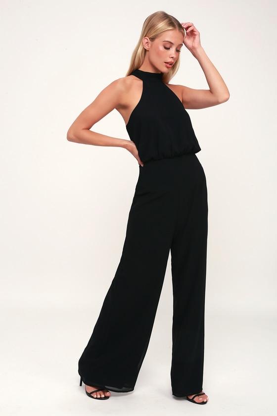c170f3669088 Sexy Black Jumpsuit - Black Halter Jumpsuit - Wide-Leg Jumpsuit