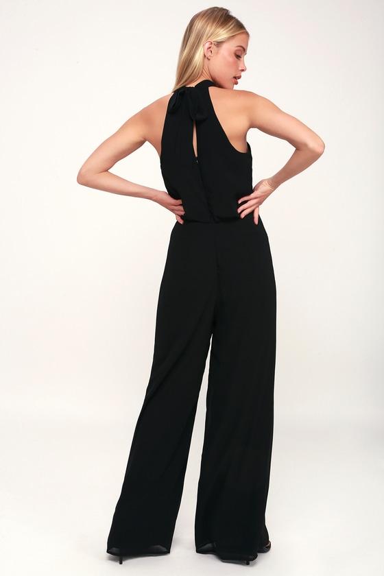 51c9367a123 Sexy Black Jumpsuit - Black Halter Jumpsuit - Wide-Leg Jumpsuit