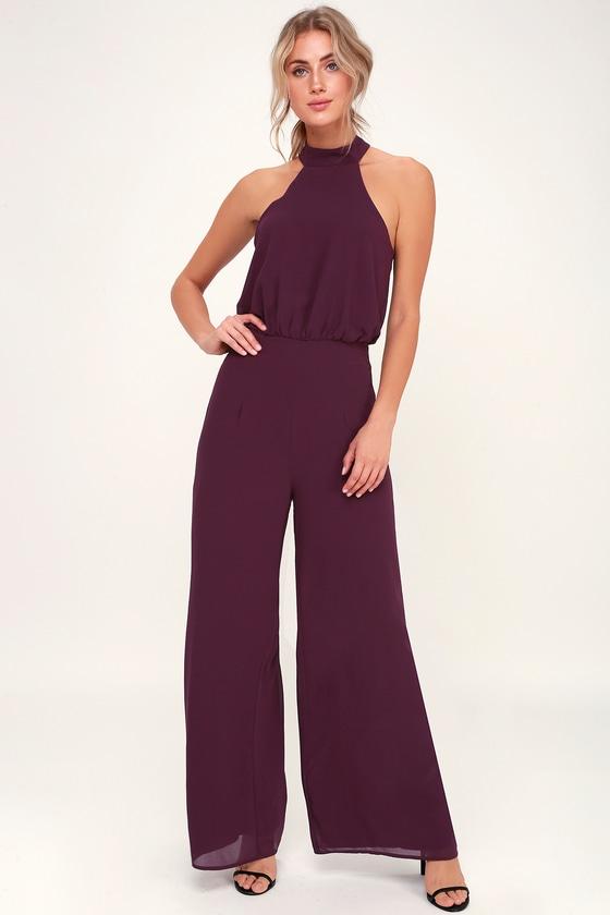 3a8f2bc7242 Sexy Purple Jumpsuit - Purple Halter Jumpsuit - Wide-Leg Jumpsuit