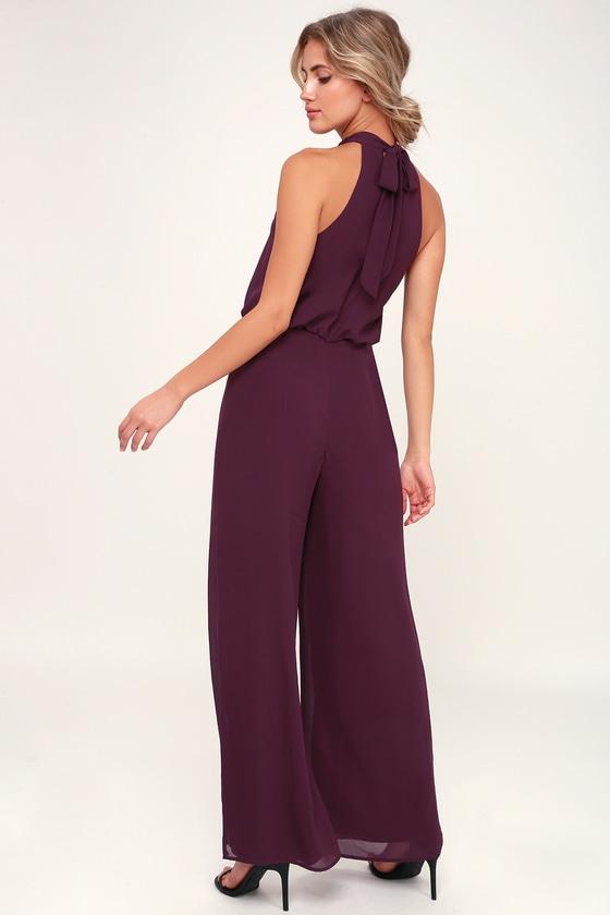 ec761b5350 Sexy Purple Jumpsuit - Purple Halter Jumpsuit - Wide-Leg Jumpsuit