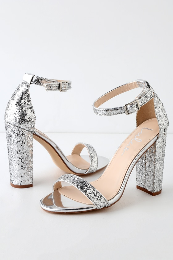 Stunning Glitter Heels Silver Heels Ankle Strap Heels