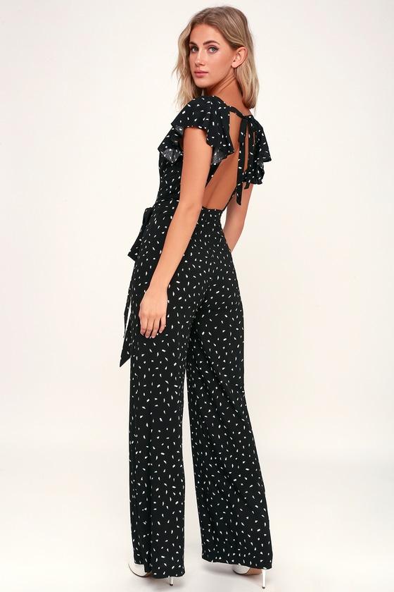 43715f4d71d0 Chic Black and White Print Jumpsuit - Print Backless Jumpsuit