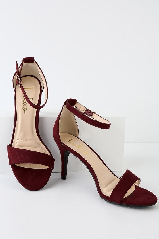 18d7d854886 Burgundy Heels - Single Sole Heels - Burgundy Ankle Strap Heels