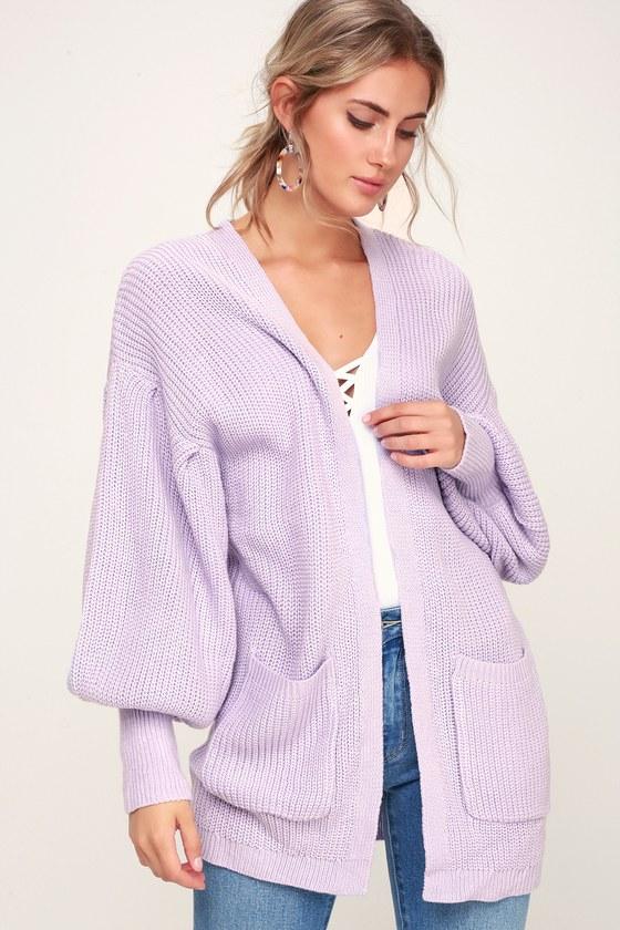 86fbaf5721 LUSH Cardigan - Lilac Sweater - Balloon Sleeve Sweater - Cardigan