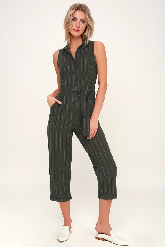 ce9faa7421a9 Cute Olive Green Striped Jumpsuit - Cropped Jumpsuit - Button-Up