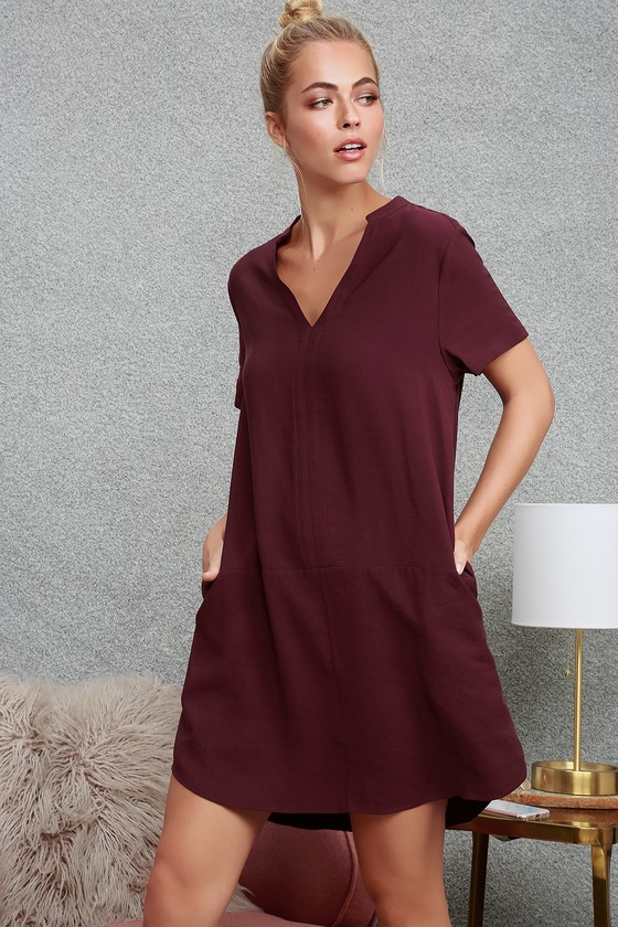 c0dce2453cd10 Cute Plum Purple Shift Dress - Short Sleeve Dress - Shift Dress