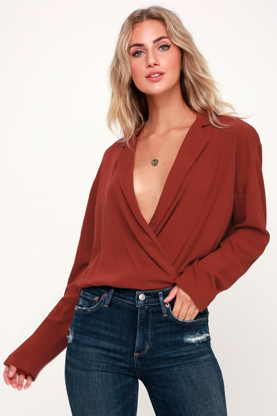 000d355b12 Free People Elsa - Red Surplice Bodysuit - Long Sleeve Bodysuit