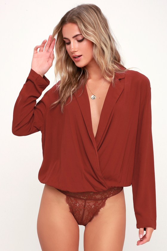 29f6bb2cc233af Free People Elsa - Red Surplice Bodysuit - Long Sleeve Bodysuit
