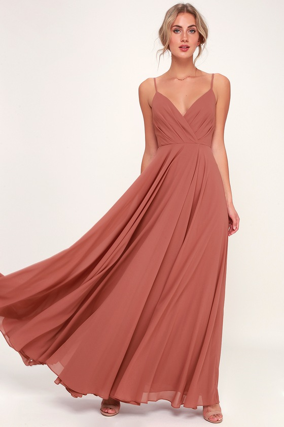 All About Love Rusty Rose Maxi Dress - Lulus