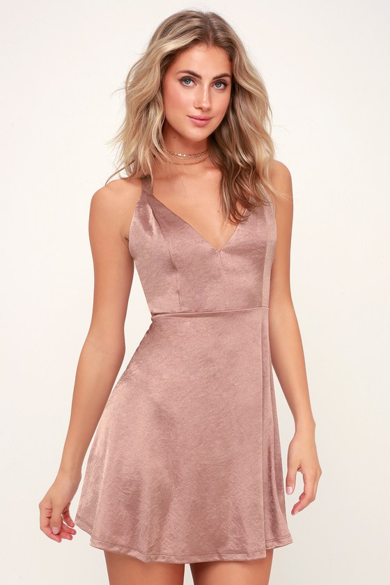 7641cf3d54 Chic Satin Dress - Satin Skater Dress - Rose Satin Dress