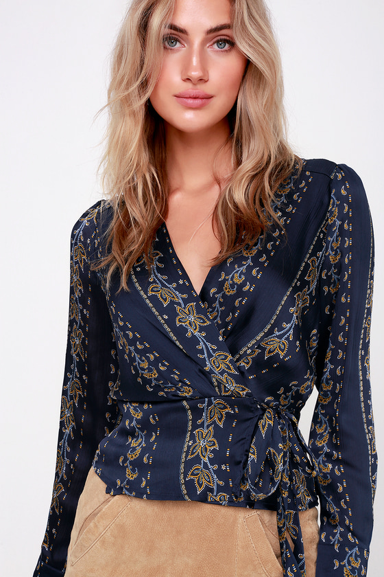 c0f5dab29865b ASTR the Label Kimi - Navy Blue Top - Wrap Top - Long Sleeve Top