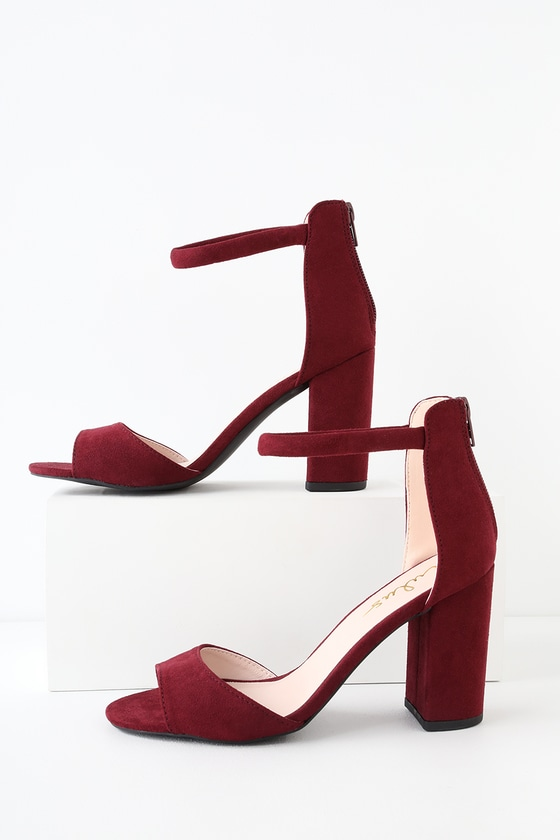 hot-seeling original save off super cheap compares to Sidecar Cutie Burgundy Suede Ankle Strap Heels