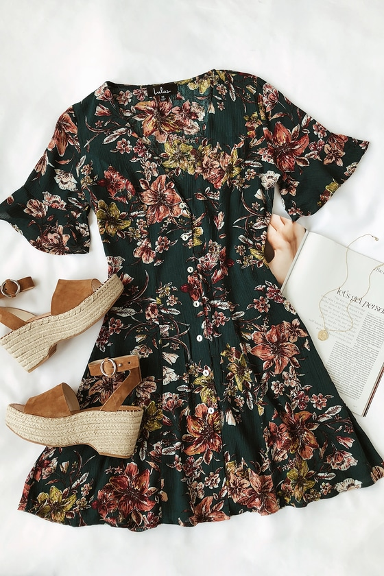 0a505e4b9c Cute Green Floral Print Dress - Button-Front Dress - Skater Dress