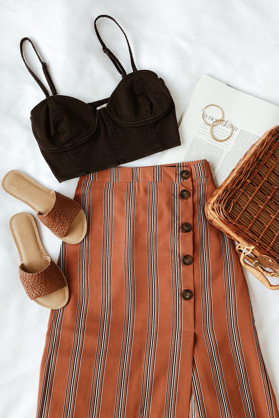 962aea05f6 Chic Rust Orange Stripe Skirt - Button-Front Skirt - Pencil Skirt
