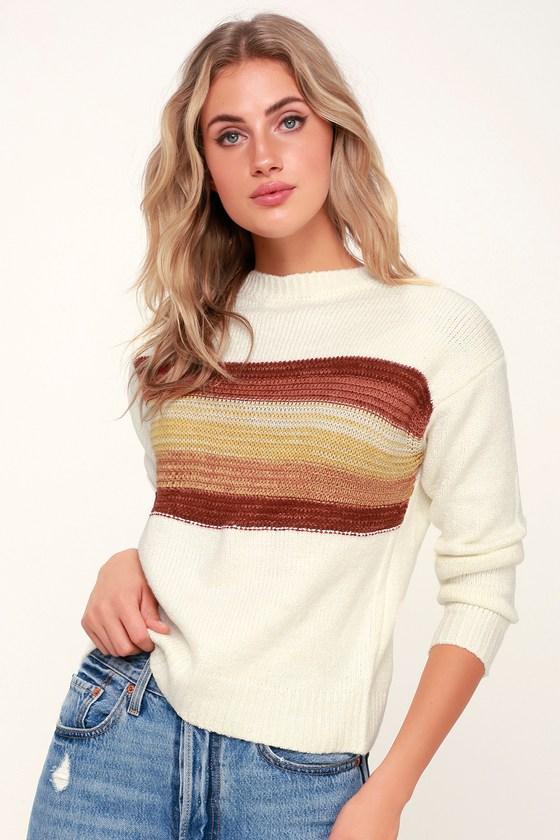 Women's 70s Shirts, Blouses, Hippie Tops Nina Rust Multi Striped Knit Sweater - Lulus $52.50 AT vintagedancer.com