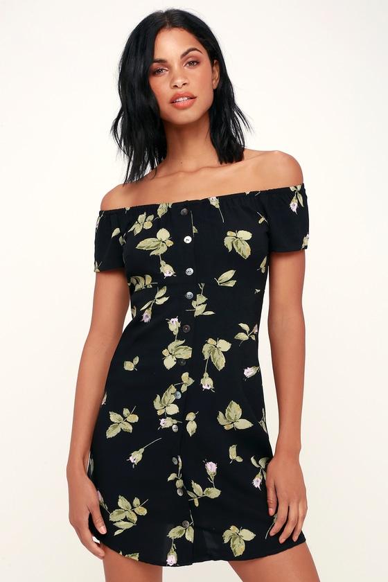 ecc6d648981d Obey Rosa - Black Floral Print Dress - Off-the-Shoulder Dress