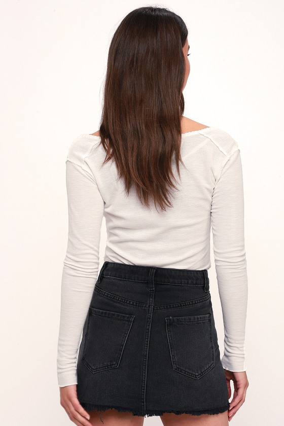 7bc6648c2cdc Free People Zip It Up - Washed Black Denim Skirt - Mini Skirt