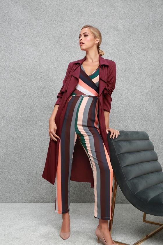61b933fb7bf Cute Striped Jumpsuit - Pink Striped Jumpsuit - Surplice Jumpsuit