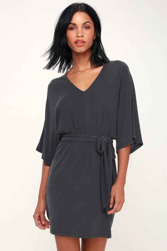 57d9697228f Cute Washed Black Dress - Casual Mini Dress - Kimono Sleeve Dress