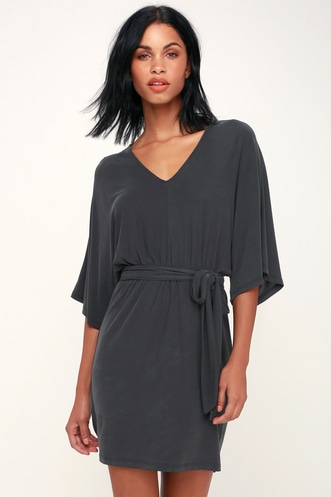 4944f4a5f0c LUSH Meira Black and Silver Metallic Off-the-Shoulder Romper.  51 · Joss  Washed Black Kimono Sleeve Mini Dress