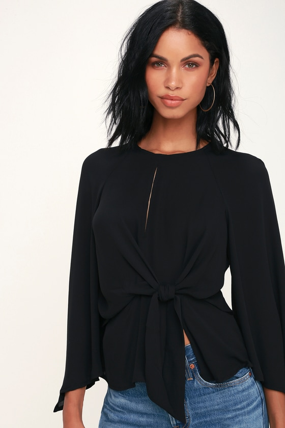 Seriously Chic Black Long Sleeve Tie-Front Top - Lulus
