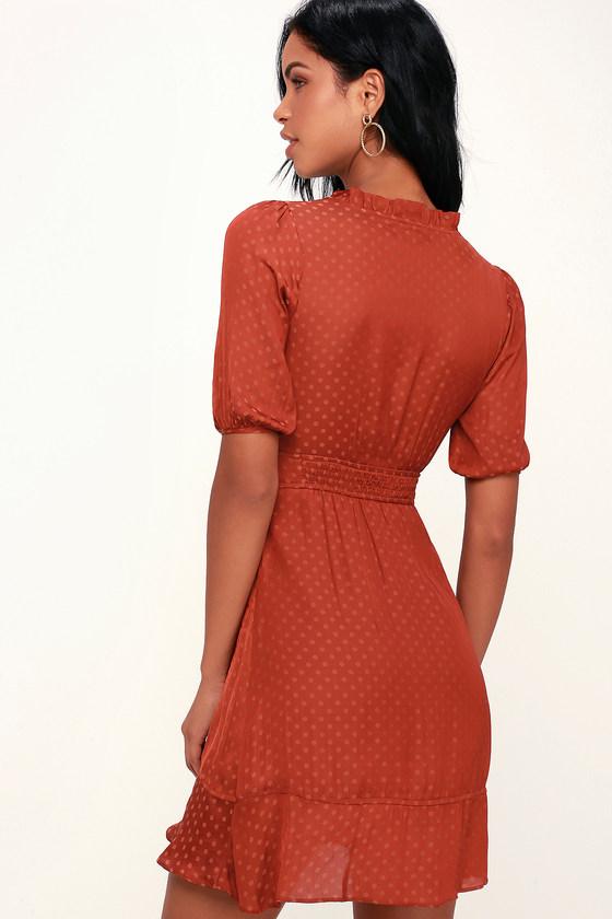 f863bfad266 Honey Punch Satin Dress - Rust Red Dress - Polka Dot Dress