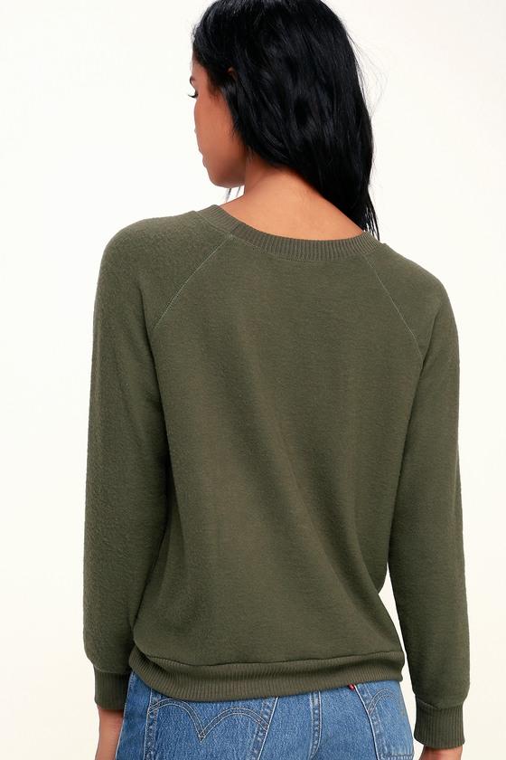 f91ffb65 Project Social T Cardiff - Olive Green Sweater Top - Sweatshirt