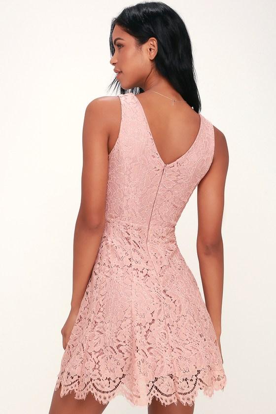 88b9f1e0af3c Lovely Blush Pink Dress - Lace Dress - Sleeveless Skater Dress
