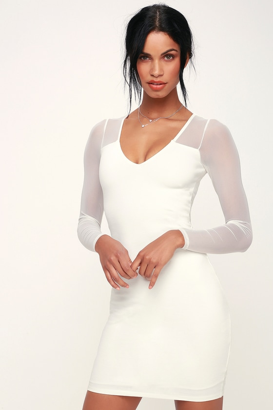 91a91e594990 Sexy Bodycon Dress - Little White Dress - Mesh Dress