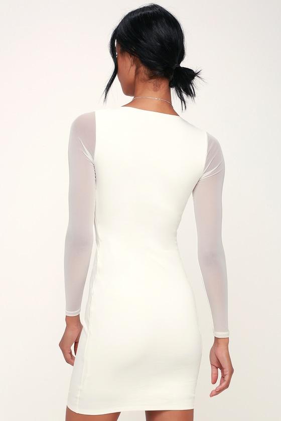 05a3c222f3f Sexy Bodycon Dress - Little White Dress - Mesh Dress