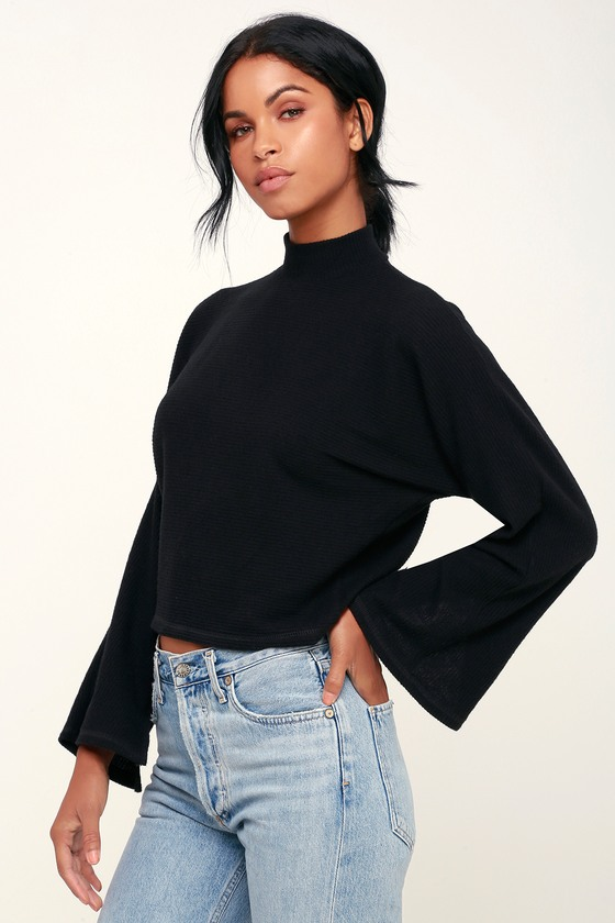fa76651083b Project Social T Reid - Black Ribbed Sweater Top - Mock Neck Top