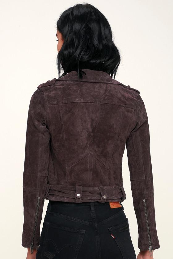 latest discount sale retailer terrific value Backhanded Dark Plum Purple Suede Leather Moto Jacket