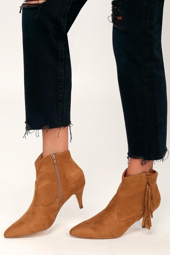 038dea92a7b Cheyenne Cognac Suede Fringe Ankle Booties