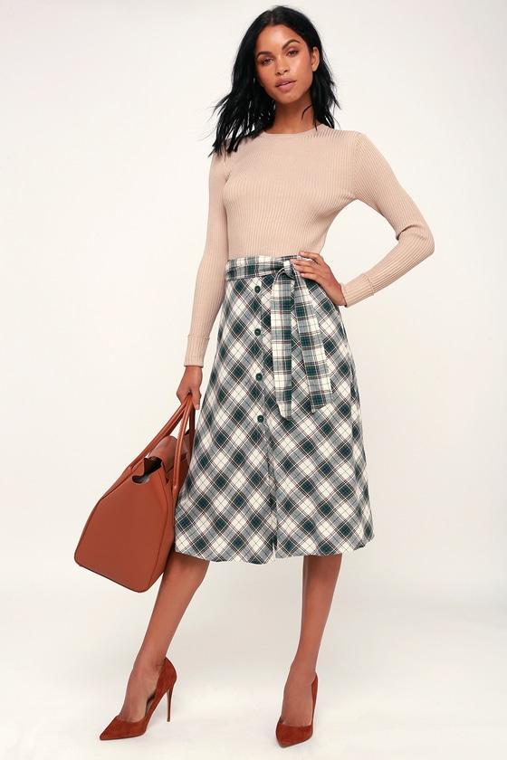 b4749ff0e5 Cute Green Plaid Skirt - Button-Front Skirt - Plaid Midi Skirt
