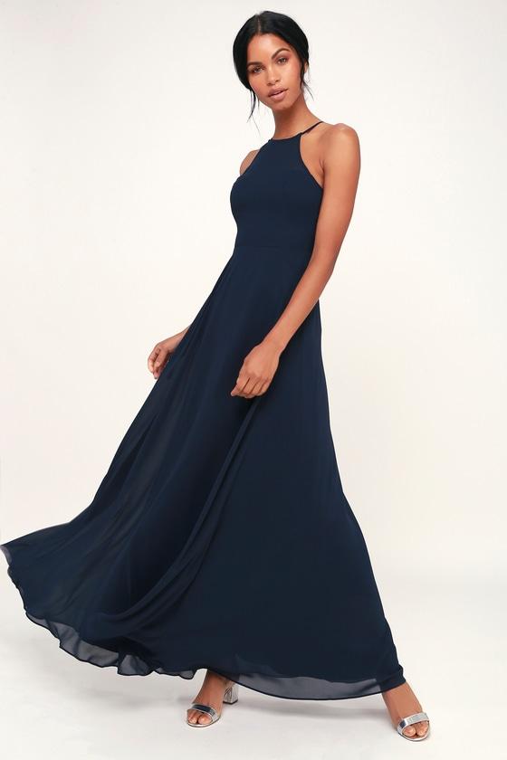 Glam Navy Blue Maxi Dress Sweetheart Maxi Dress Blue Gown