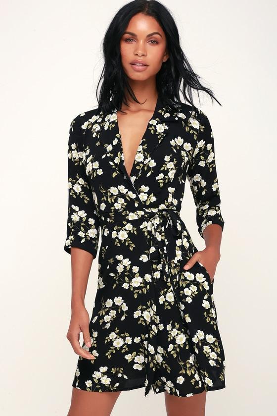 e1482bf5cc9e Pretty Black and White Floral Print Dress - Floral Wrap Dress