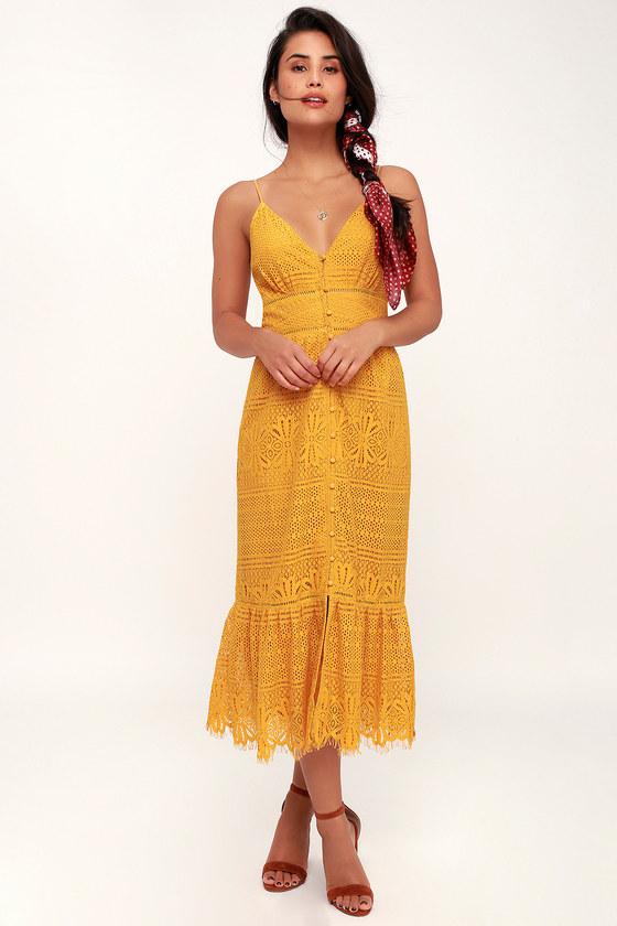 Robyn Mustard Yellow Lace Button Up Midi Dress