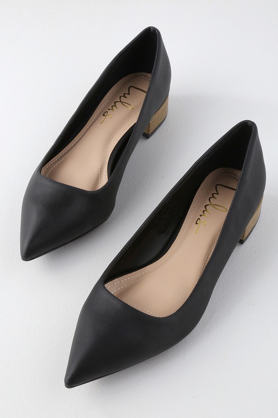 a41f0e7da76 Chic Black Low Heels - Low Pointed-Toe Heels - Vegan Leather