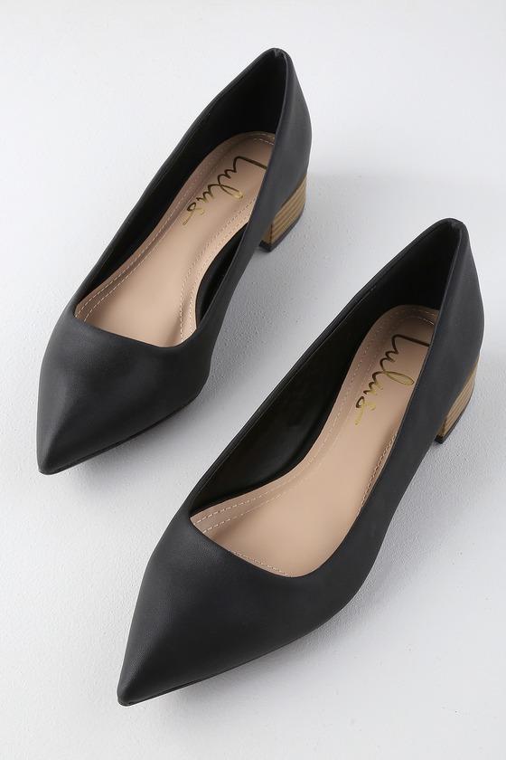 1ad4fe5c3af Alessia Black Low Pointed-Toe Heels