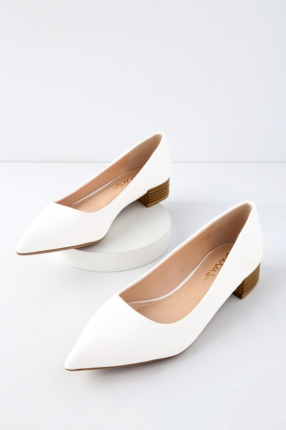 chic white low heels low pointed toe heels vegan leather