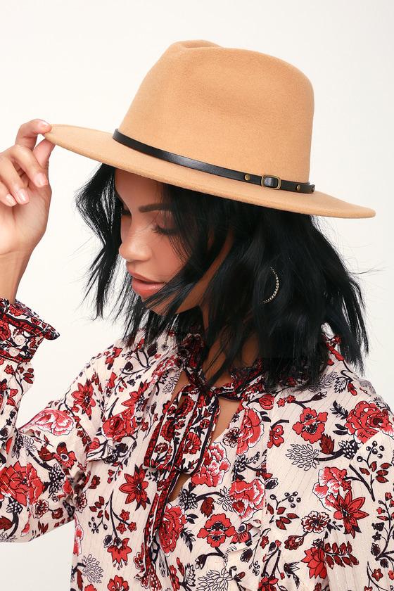 76b0564b582 Lulus - Tan Hat - Wide-Brim Hat - Burgundy Fedora Hat
