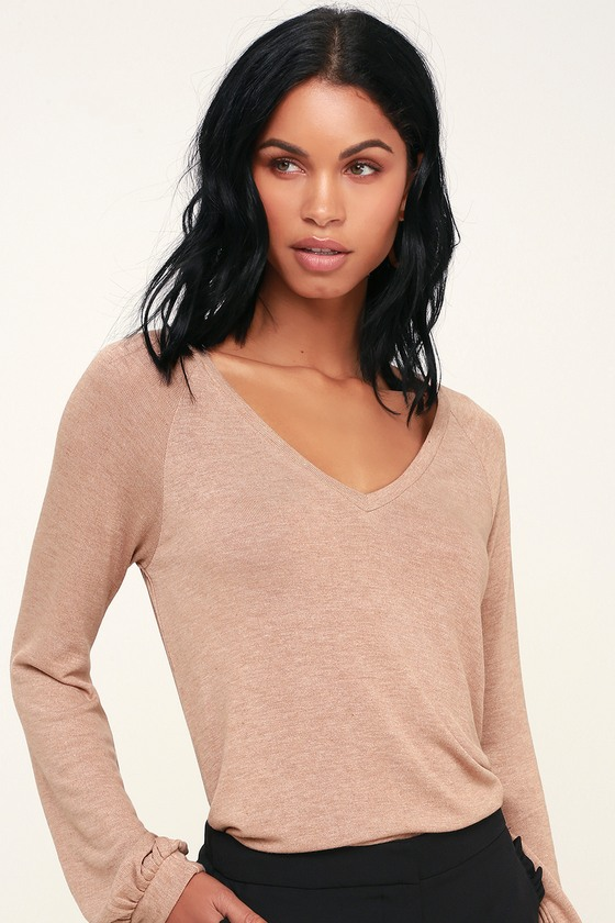 Cute Taupe Top - Long Sleeve Top - Sweater Top - V-Neck Top b50e4a52a