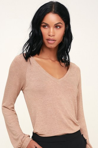 257eb2784d Tori Taupe V-Neck Long Sleeve Sweater Top