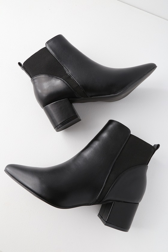 99b3c74811d Chase Black Pointed Toe Ankle Booties