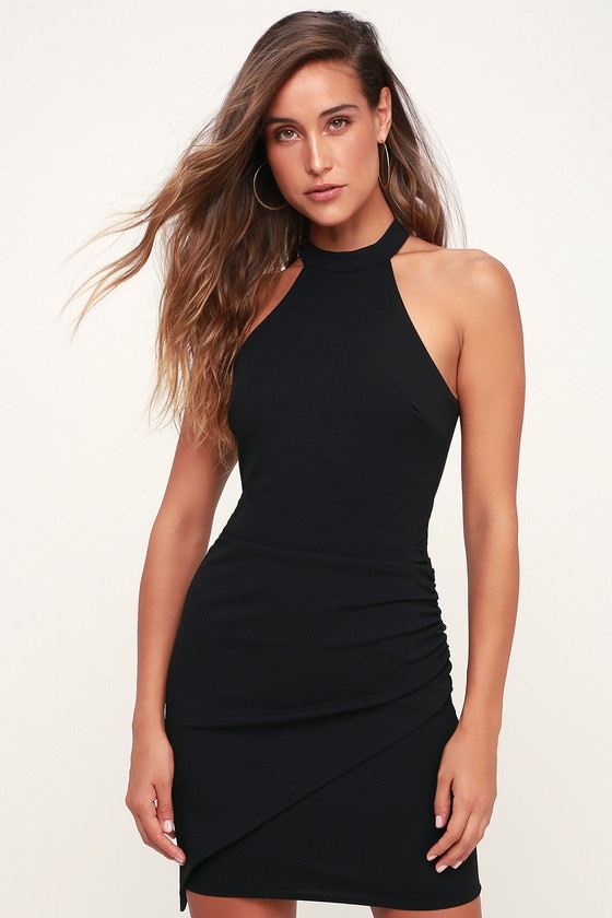 You Can't Ruche Love Black Ruched Bodycon Halter Dress