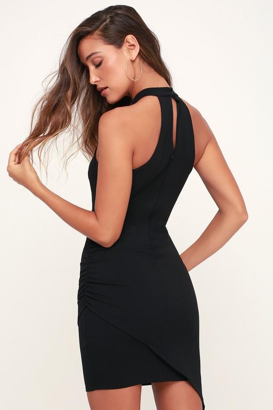 34264526101 Sexy Black Dress - Ruched Dress - Bodycon Dress - Halter Dress