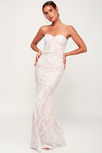 f8a55d2110 You Belong With Me White and Nude Lace Strapless Maxi Dress