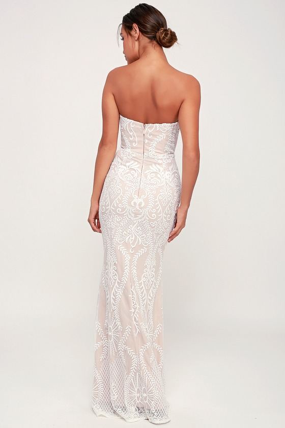 fd3306351 Chic Lace Maxi Dress - White and Nude Maxi Dress - Mermaid Maxi