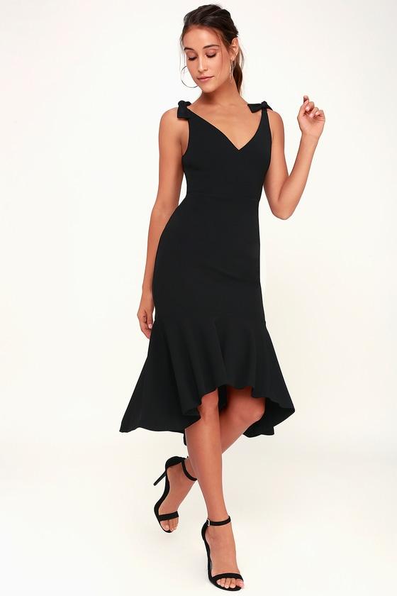 e4466879a67 Want You to Want Me Black Trumpet Hem Bodycon Midi Dress