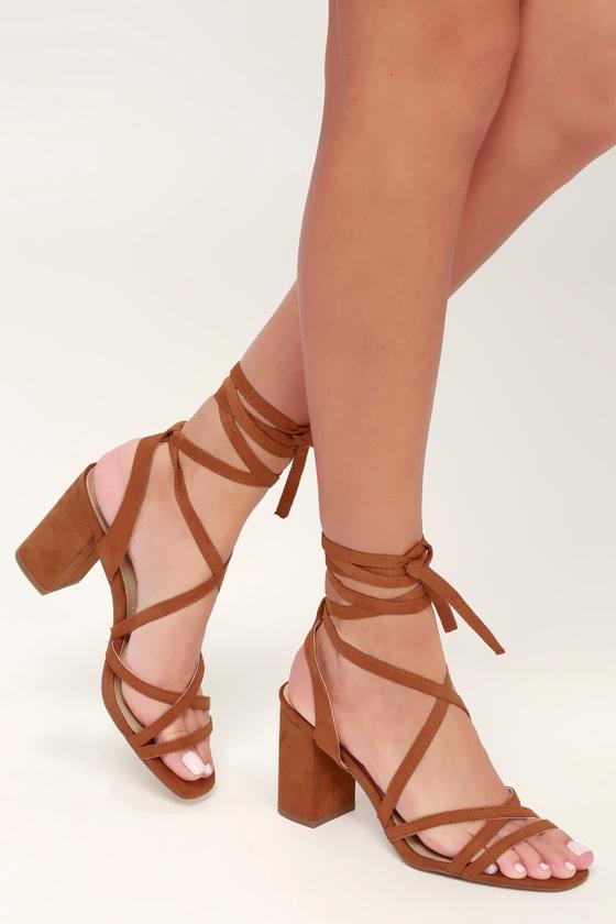 4c22b16fe3a Cute Lace-Up Heels - Cognac Heels - Vegan Suede Heels